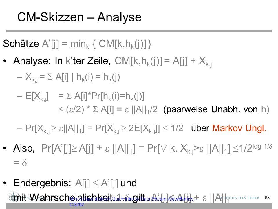CM-Skizzen – Analyse Schätze A'[j] = mink { CM[k,hk(j)] }